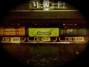 photo of gum in a vending machine