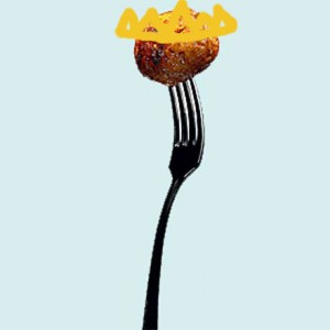 the image meatball uses for her avatar--a meatball on a fork--with a crown drawn on it