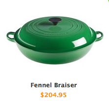 "A green pot with a green lid and two handles. the caption reads ""Fennel Braiser $204.95"""